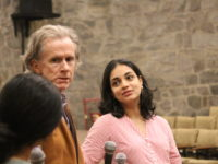 Justin McCarthy and Sandhya Kumar following the screening of Koothu by Sandhya