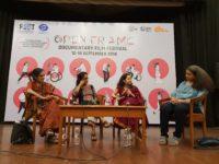 Prof. Anita Rampal, Radhika Menon, Aparna Sanyal and Anupama Srinivasan in Discussion, followingthe screening of Aaj School Javanu Che Tamare