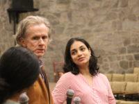 Justin McCarthy and Sandhya Kumar following the screening of Koothu by Sandhya