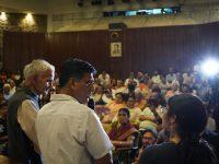 Vidyadutt Sharma, Nirmal Chander and Anandana Kapur, following the screening of Moti Bagh